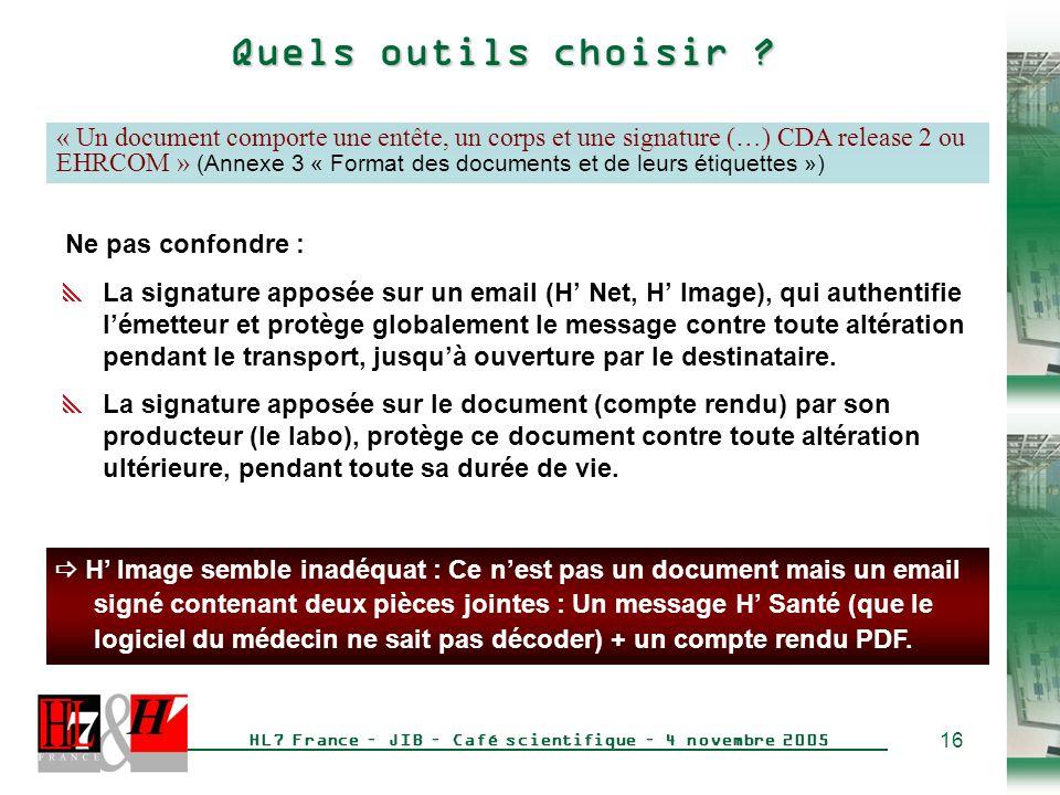 16 HL7 France – JIB – Café scientifique – 4 novembre 2005 Quels outils choisir .