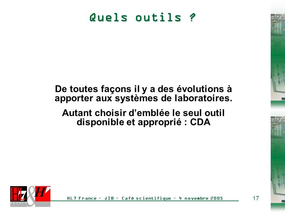 17 HL7 France – JIB – Café scientifique – 4 novembre 2005 Quels outils .