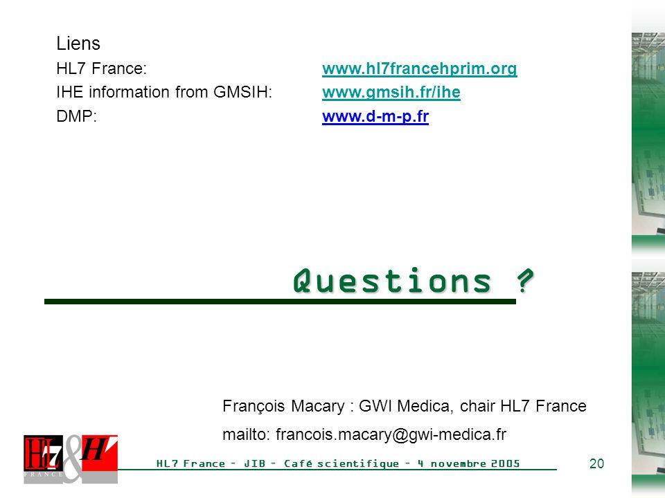 20 HL7 France – JIB – Café scientifique – 4 novembre 2005 Questions .