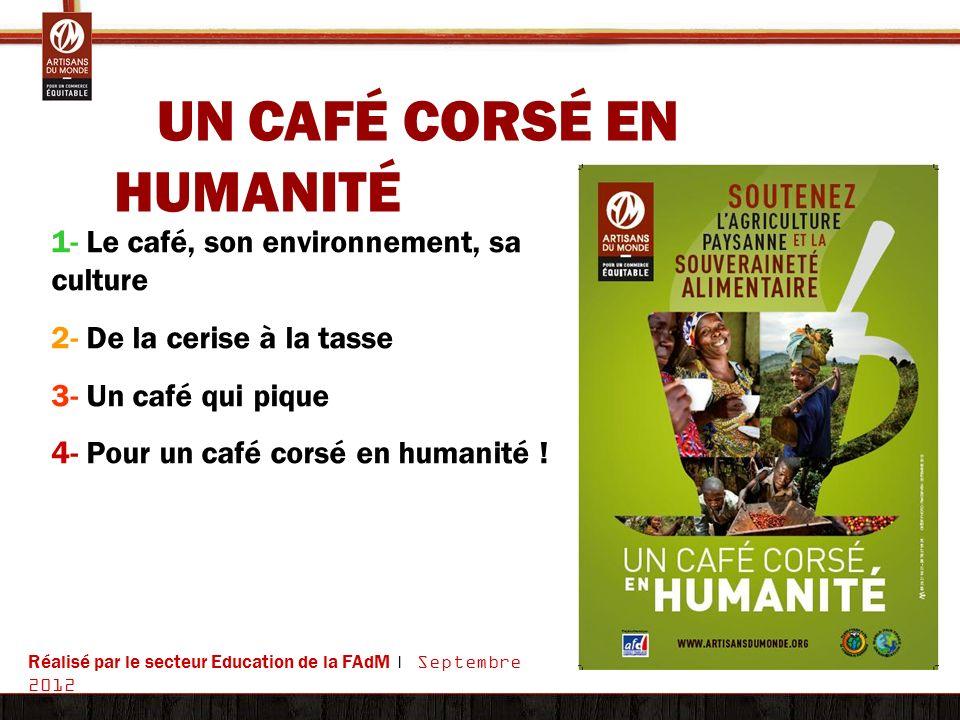 UN CAFÉ CORSÉ EN HUMANITÉ 1- Le café, son environnement, sa culture 2- De la cerise à la tasse 3- Un café qui pique 4- Pour un café corsé en humanité