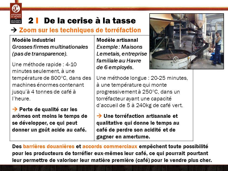 2 I De la cerise à la tasse © Tim Driven Zoom sur les techniques de torréfaction Modèle industriel Grosses firmes multinationales (pas de transparence