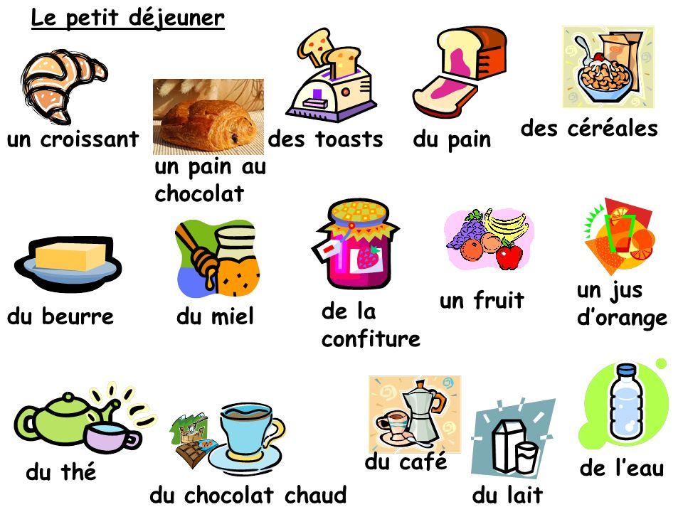 Au petit déjeuner Au petit déjeuner je mange …… et je bois …… Je ne bois rien Au petit déjeuner je ne mange rien X X a) b)c) d) f) e) g) h) X
