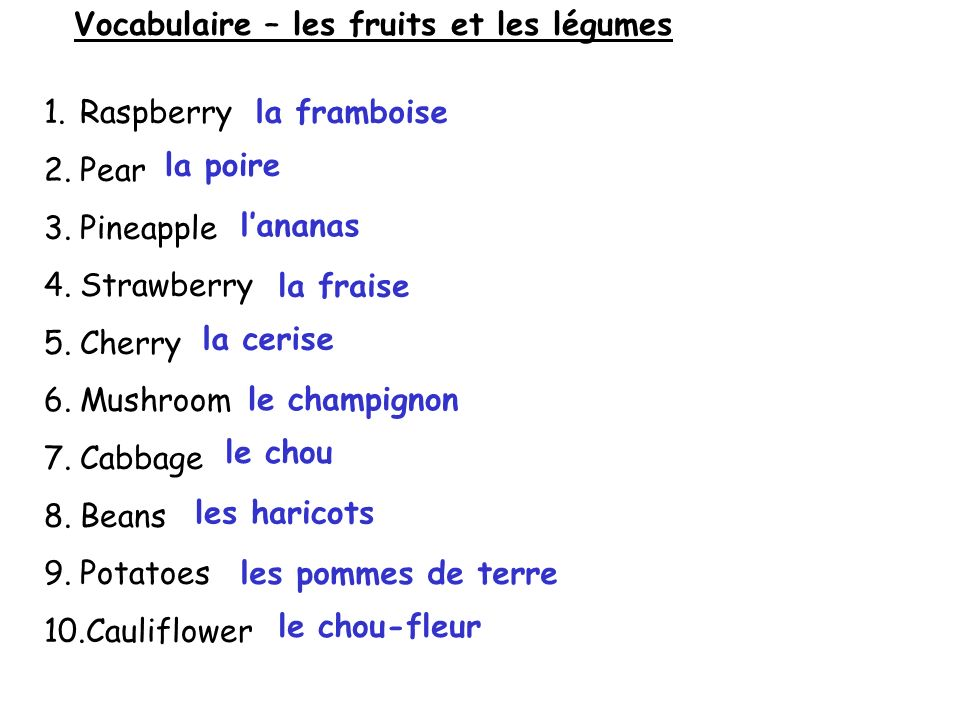 Vocabulaire – les fruits et les légumes 1.Raspberry 2.Pear 3.Pineapple 4.Strawberry 5.Cherry 6.Mushroom 7.Cabbage 8.Beans 9.Potatoes 10.Cauliflower la