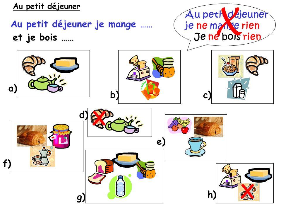 Le petit déjeuner les céréales la confiture le pain au chocolat le fruit le jus dorange le théle chocolat chaudle lait le café le croissant les toasts / le pain grillé le pain leau le miel le beurre le sucre