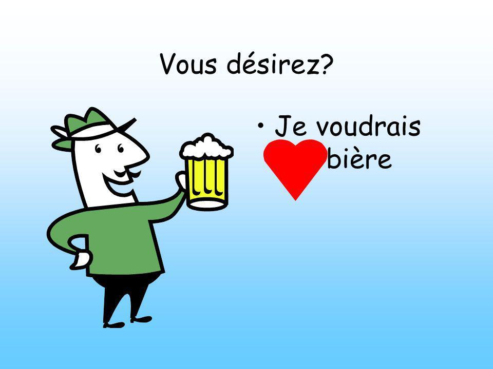 Vous désirez Je voudrais une bière