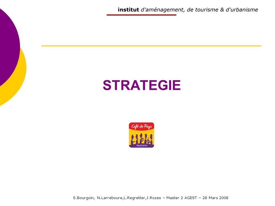 S.Bourgoin, N.Larreboure,L.Regretter,J.Rozes – Master 2 AGEST – 28 Mars 2008 STRATEGIE