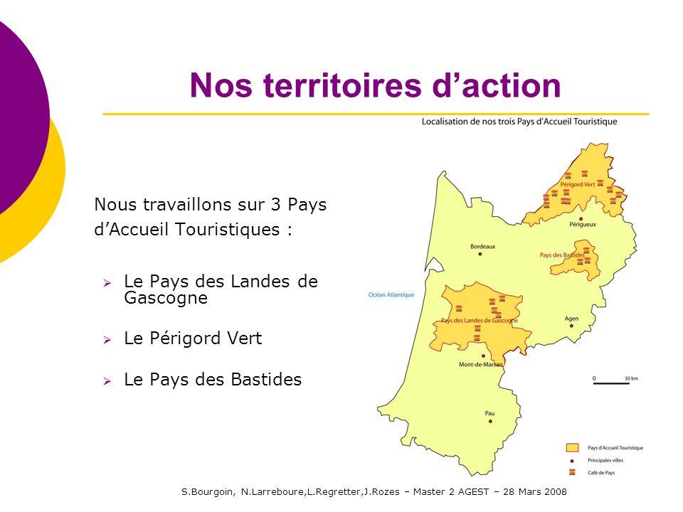 S.Bourgoin, N.Larreboure,L.Regretter,J.Rozes – Master 2 AGEST – 28 Mars 2008 Nos territoires daction Nous travaillons sur 3 Pays dAccueil Touristiques