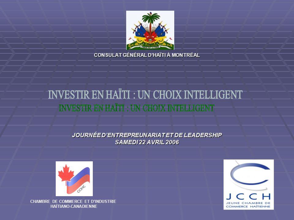 CONSULAT GÉNÉRAL DHAÏTI À MONTRÉAL JOURNÉE DENTREPREUNARIAT ET DE LEADERSHIP SAMEDI 22 AVRIL 2006 CHAMBRE DE COMMERCE ET DINDUSTRIE HAÏTIANO-CANADIENNE