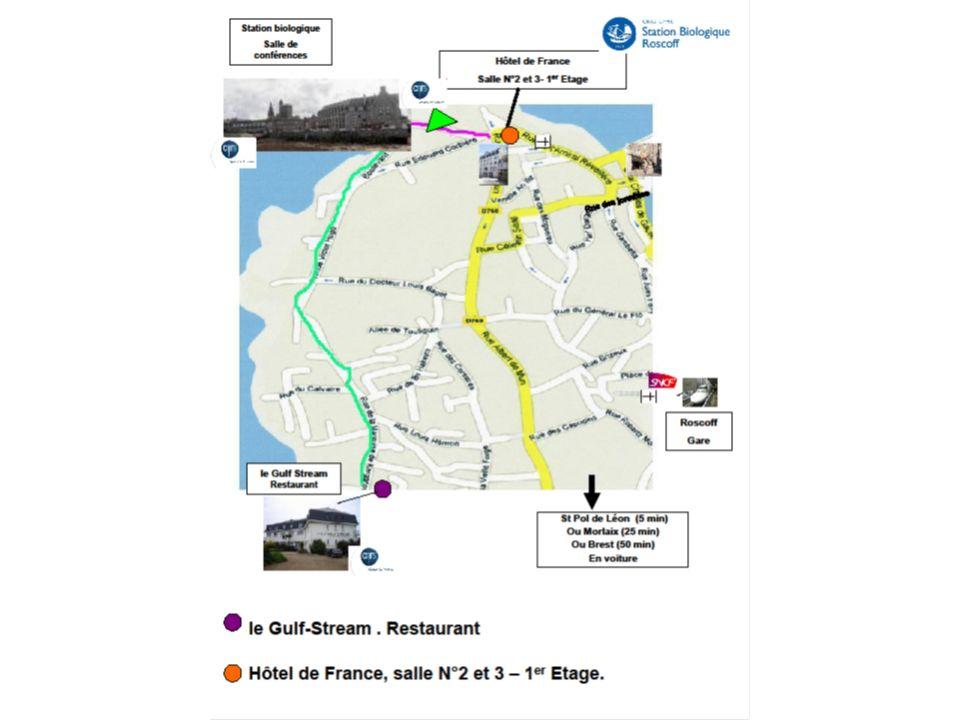 PROGRAMME ECOLE DE BIOINFORMATIQUE 14/18 JANVIER 2013 INITIATION AU TRAITEMENT DES DONNÉES DE GÉNOMIQUE OBTENUES PAR SÉQUENÇAGE À HAUT DÉBIT Dimanche 13 janvier 2013: 19h30 : Dîner au Gulf Stream (pour ceux qui arrivent le dimanche) Les participants sont séparés en deux groupes : Groupe 1 : ateliers RNA-seq / ChIP-seq/miRNA Groupe 2 : atelier SNPs, détection de variants, détection de CNV Les activités de la journée du lundi 14 janvier sont communes aux 2 groupes Lundi 14 9hAccueil café à lHôtel de France (1 er ét.) - Vérification et installation des portables (salle 2) 10h25Accueil – Informations générales sur le déroulement de lécole 10h30Introduction de Bernard Kloareg, directeur de la Station biologique de Roscoff 10h45Introduction sur le séquençage : technologies disponibles, types de librairies (T.
