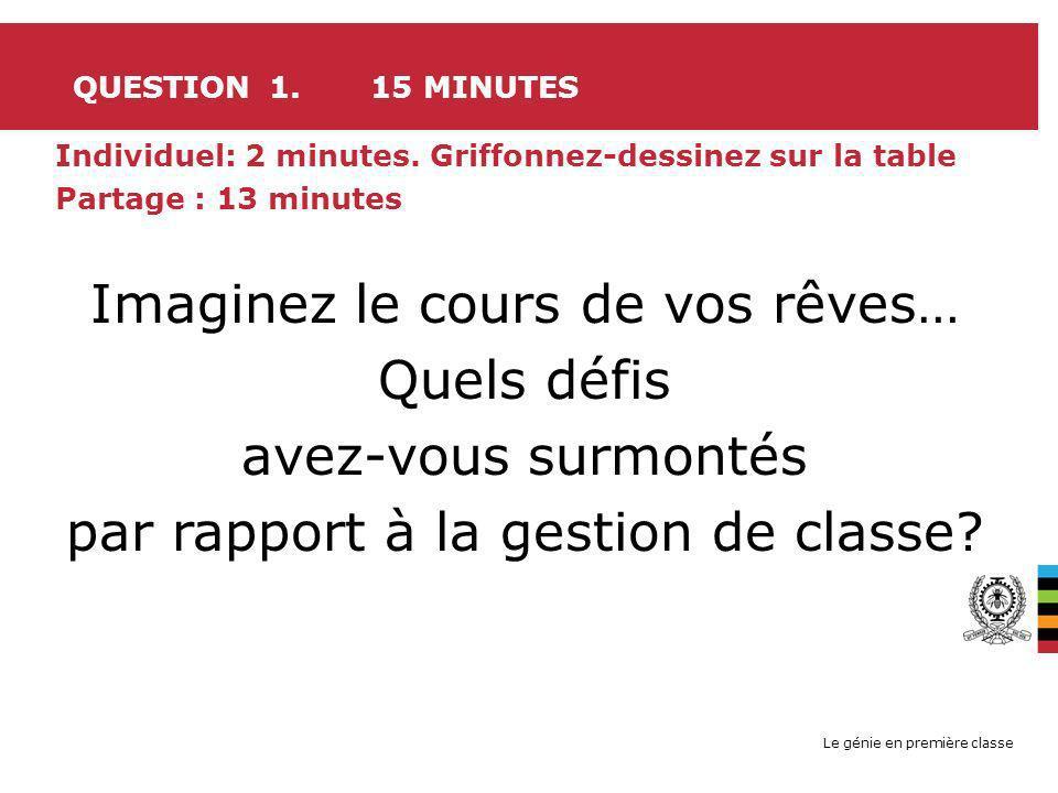 Le génie en première classe QUESTION 1. 15 MINUTES Individuel: 2 minutes. Griffonnez-dessinez sur la table Partage : 13 minutes Imaginez le cours de v