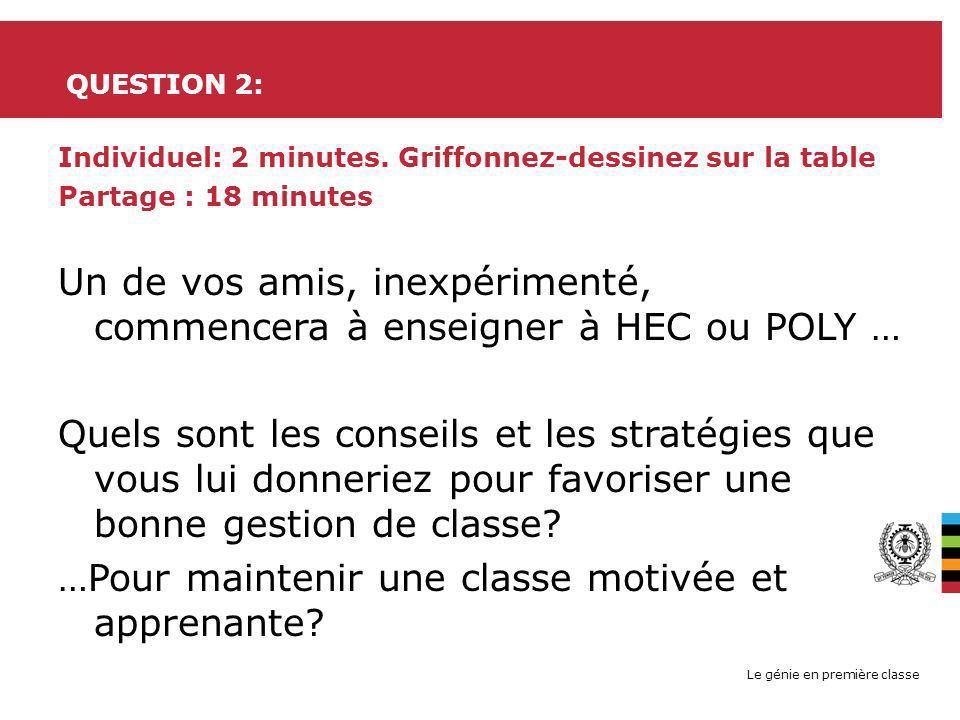 Le génie en première classe QUESTION 2: Individuel: 2 minutes. Griffonnez-dessinez sur la table Partage : 18 minutes Un de vos amis, inexpérimenté, co