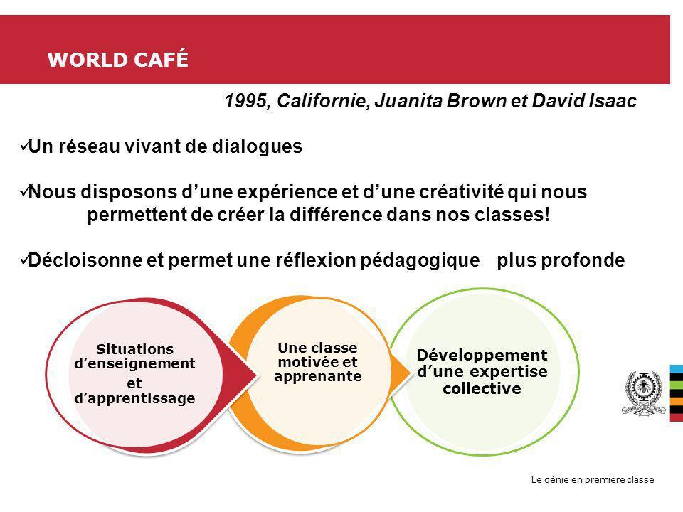 Le génie en première classe WORLD CAFÉ Développement dune expertise collective Une classe motivée et apprenante Situations denseignement et dapprentis