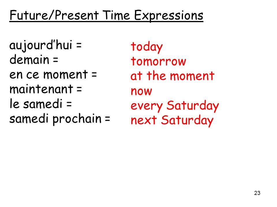 Future/Present Time Expressions aujourdhui = demain = en ce moment = maintenant = le samedi = samedi prochain = today tomorrow at the moment now every Saturday next Saturday 23