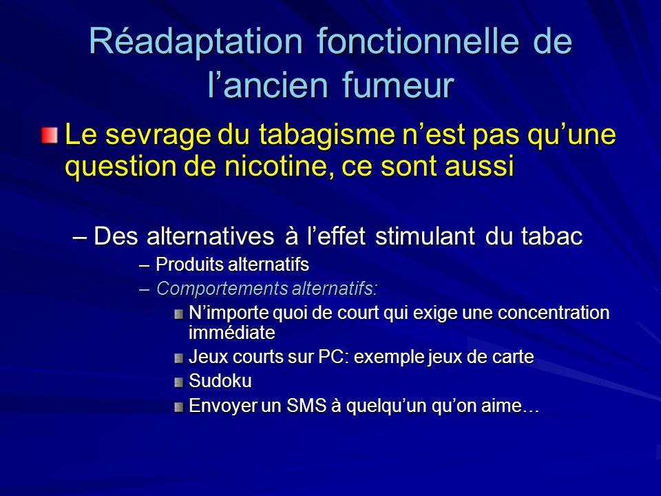 Réadaptation fonctionnelle de lancien fumeur Le sevrage du tabagisme nest pas quune question de nicotine, ce sont aussi –Des alternatives à leffet sti