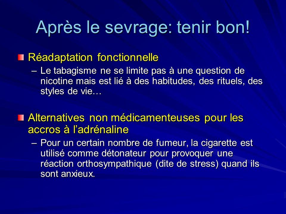 Après le sevrage: tenir bon! Réadaptation fonctionnelle –Le tabagisme ne se limite pas à une question de nicotine mais est lié à des habitudes, des ri