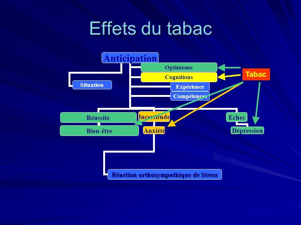 Effets du tabac Anticipation Réussite Bien-être Incertitude Anxiété Réaction orthosympathique de Stress Echec Dépression OptimismeCognitions Expérienc