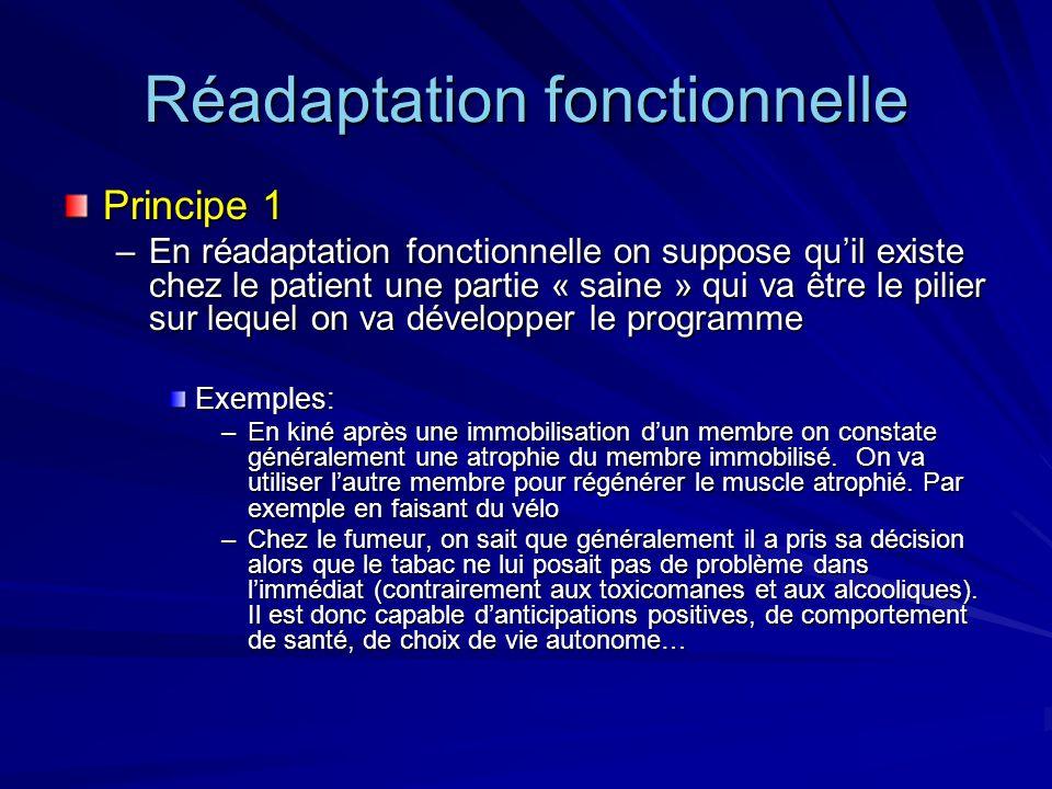 Réadaptation fonctionnelle Principe 1 –En réadaptation fonctionnelle on suppose quil existe chez le patient une partie « saine » qui va être le pilier