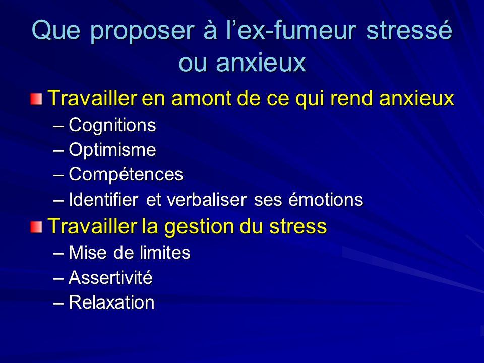 Que proposer à lex-fumeur stressé ou anxieux Travailler en amont de ce qui rend anxieux –Cognitions –Optimisme –Compétences –Identifier et verbaliser