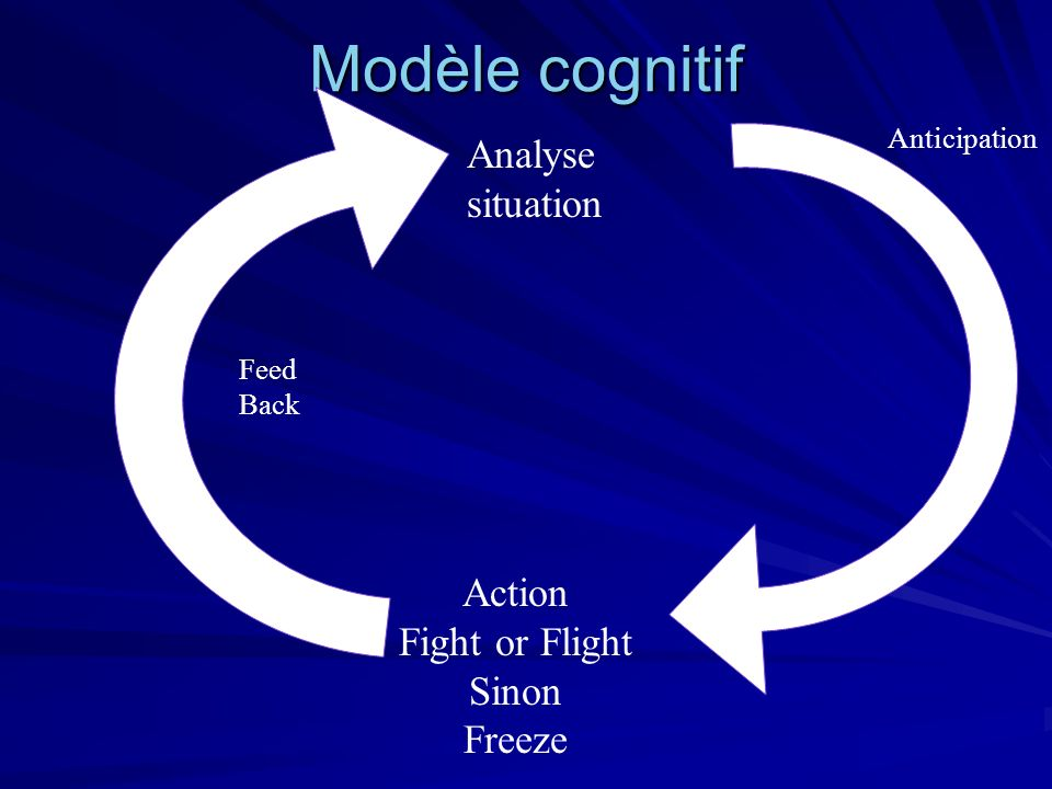 Modèle cognitif Feed Back Analyse situation Action Fight or Flight Sinon Freeze Anticipation