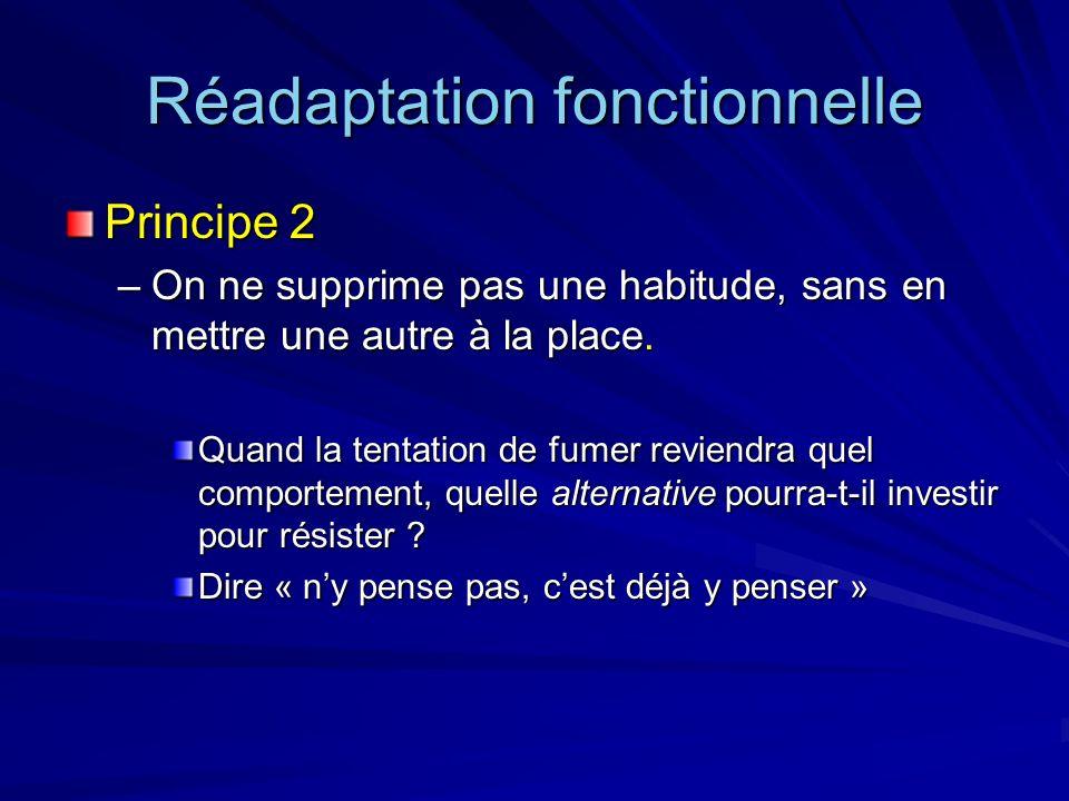 Réadaptation fonctionnelle Principe 2 –On ne supprime pas une habitude, sans en mettre une autre à la place. Quand la tentation de fumer reviendra que