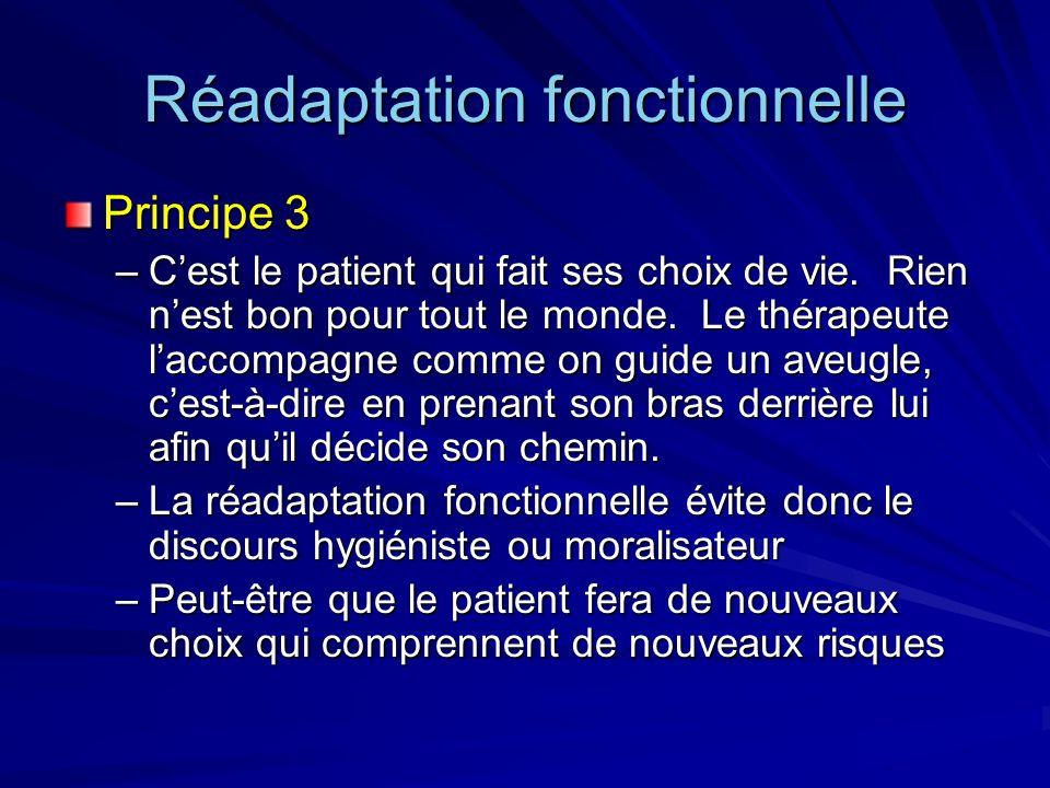 Réadaptation fonctionnelle Principe 3 –Cest le patient qui fait ses choix de vie. Rien nest bon pour tout le monde. Le thérapeute laccompagne comme on