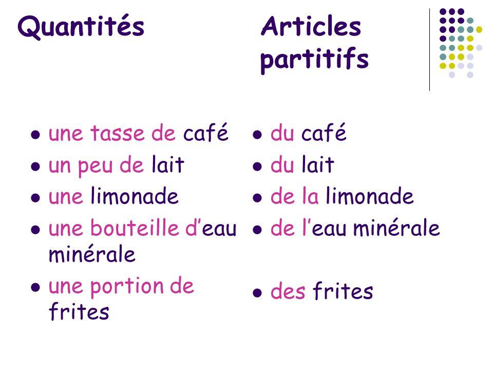 Quantités Articles partitifs une tasse de café un peu de lait une limonade une bouteille deau minérale une portion de frites du café du lait de la lim