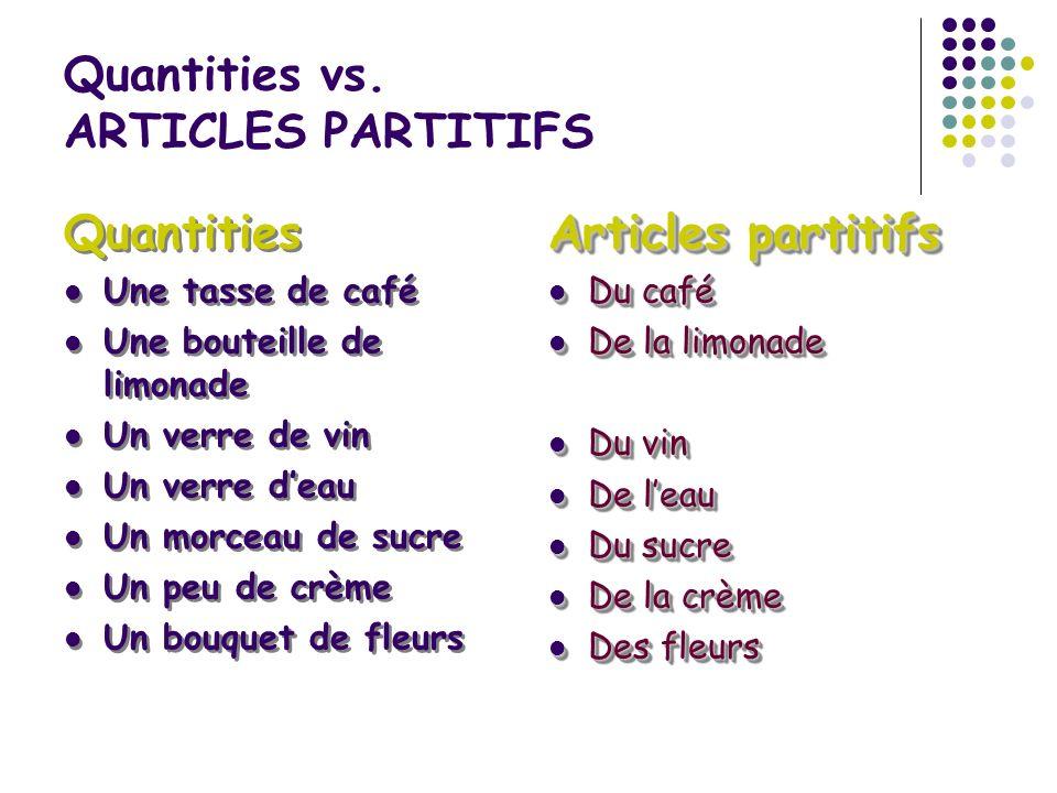 Quantities vs. ARTICLES PARTITIFS Quantities Une tasse de café Une bouteille de limonade Un verre de vin Un verre deau Un morceau de sucre Un peu de c
