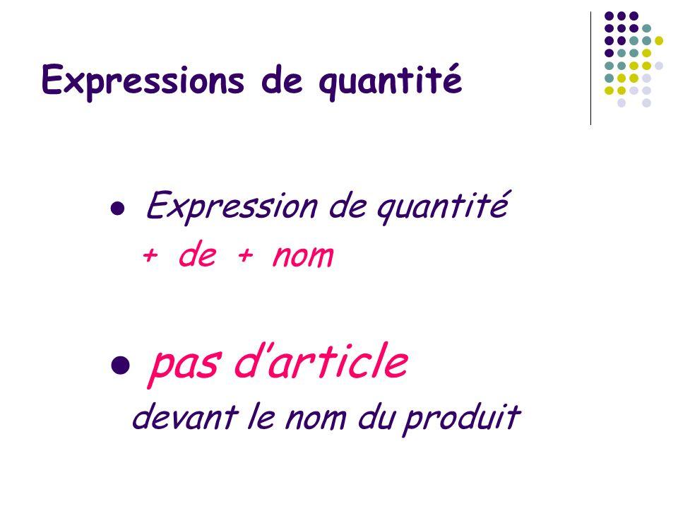 Expressions de quantité Expression de quantité + de + nom pas darticle devant le nom du produit