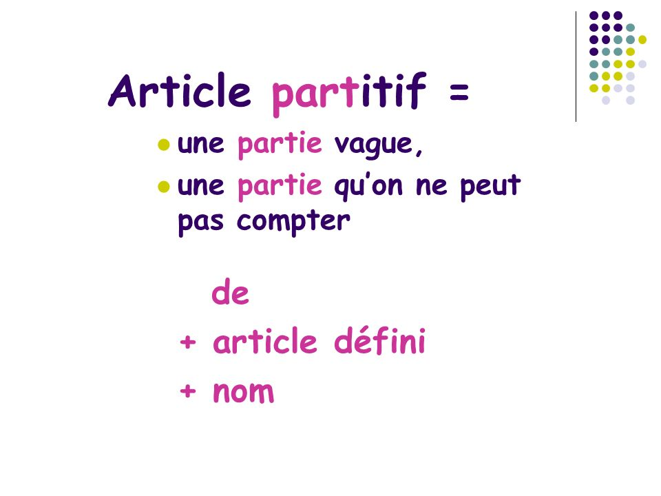 Articles partitifs de la de l du [contraction de le du] des [contraction de les des]