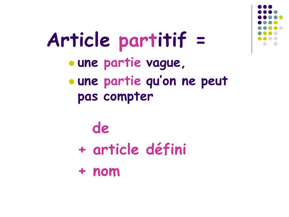 Article part itif = une partie vague, une partie quon ne peut pas compter de + article défini + nom