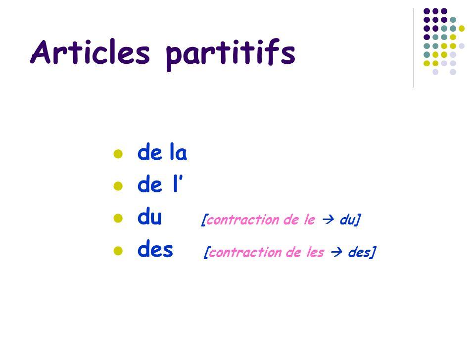 Articles partitifs de la de l du [contraction de le du] des [contraction de les des]