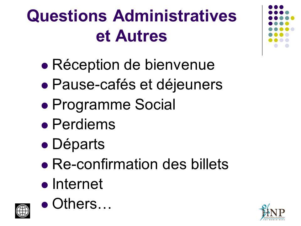 Questions Administratives et Autres Réception de bienvenue Pause-cafés et déjeuners Programme Social Perdiems Départs Re-confirmation des billets Inte