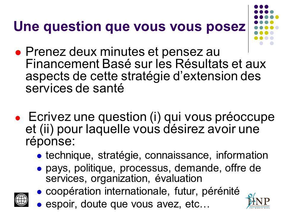 Une question que vous vous posez Prenez deux minutes et pensez au Financement Basé sur les Résultats et aux aspects de cette stratégie dextension des