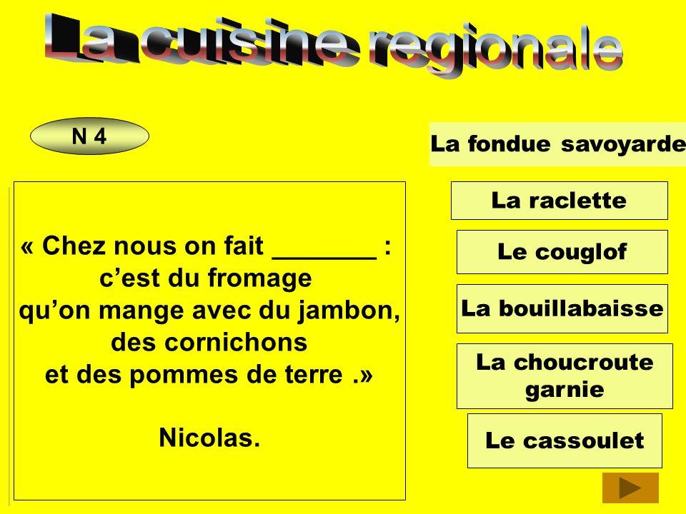 « Jhabite à Toulouse. Dans notre famille on aime beaucoup ___________________. On le prépare avec des haricots blancs et du porc. Mathieu. La fondue s