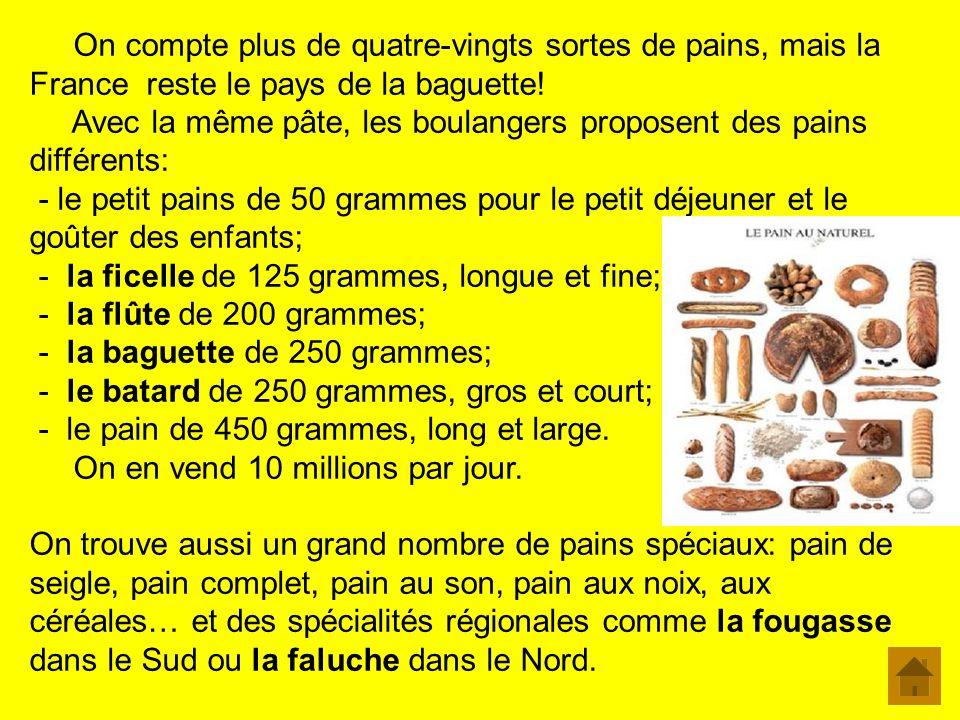 La baguette et les autres La boulangerie est le commerce preféré des Français. 75% des pains achetés sont des baguettes! 83% des Français mangent du p