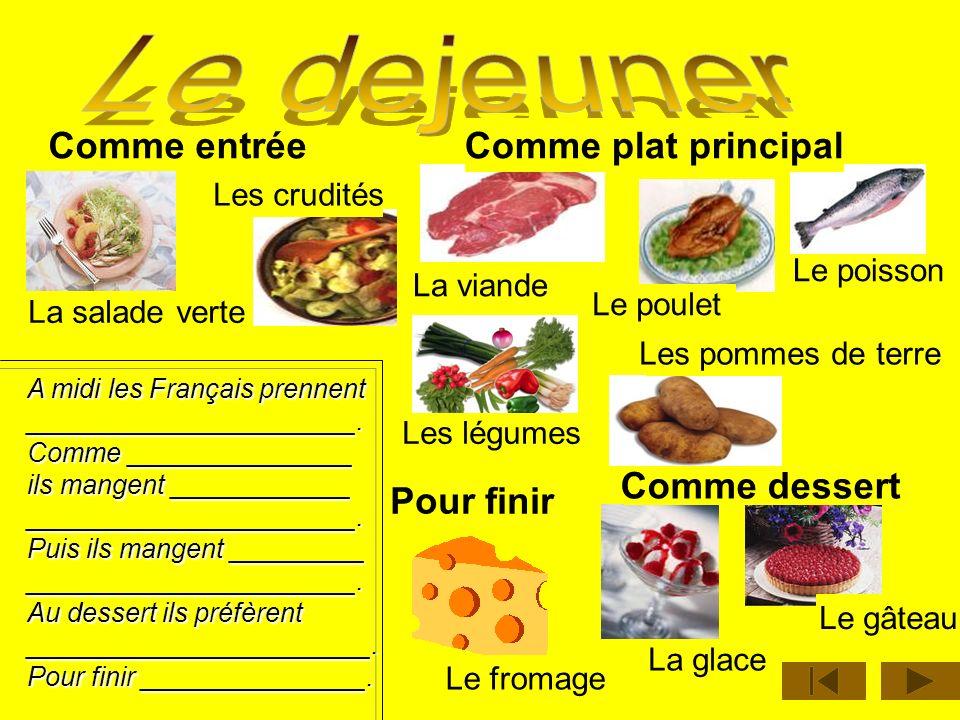 Le thé Le café Le chocolat Le pain Le beurre La confiture Le miel Les viennoiseries Les croissants Le jus Le yaourt Les céréales Le lait Jaime // je n