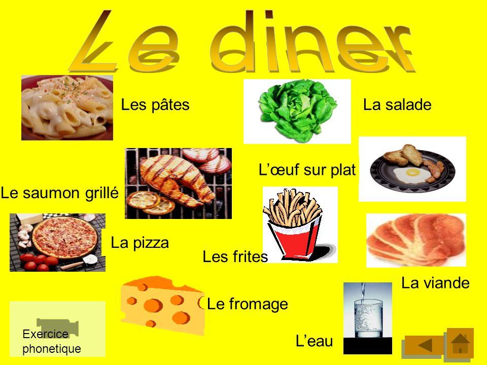 Comme entrée Comme plat principal Pour finir Comme dessert La salade verte Les crudités Le gâteau La glace Les pommes de terre Les légumes Le poisson