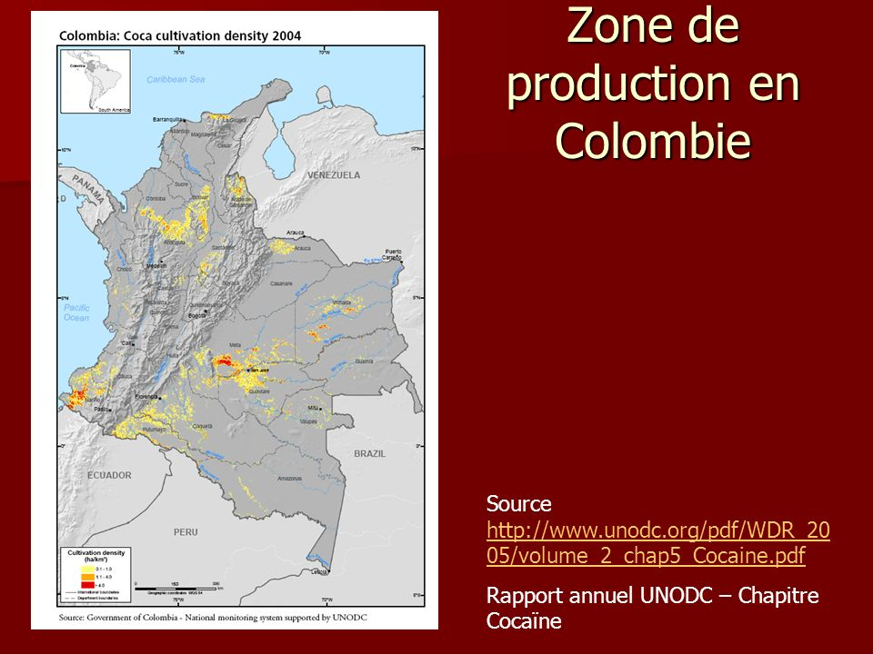 Zone de production en Colombie Source http://www.unodc.org/pdf/WDR_20 05/volume_2_chap5_Cocaine.pdf http://www.unodc.org/pdf/WDR_20 05/volume_2_chap5_