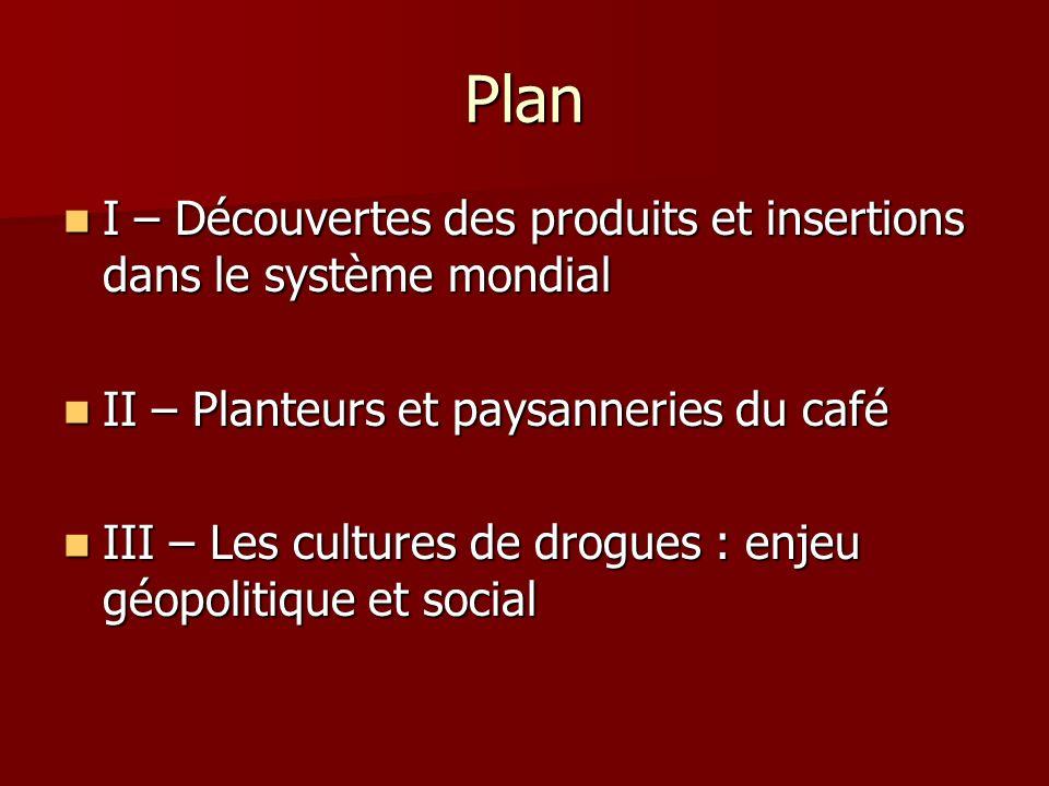 Plan I – Découvertes des produits et insertions dans le système mondial I – Découvertes des produits et insertions dans le système mondial II – Plante