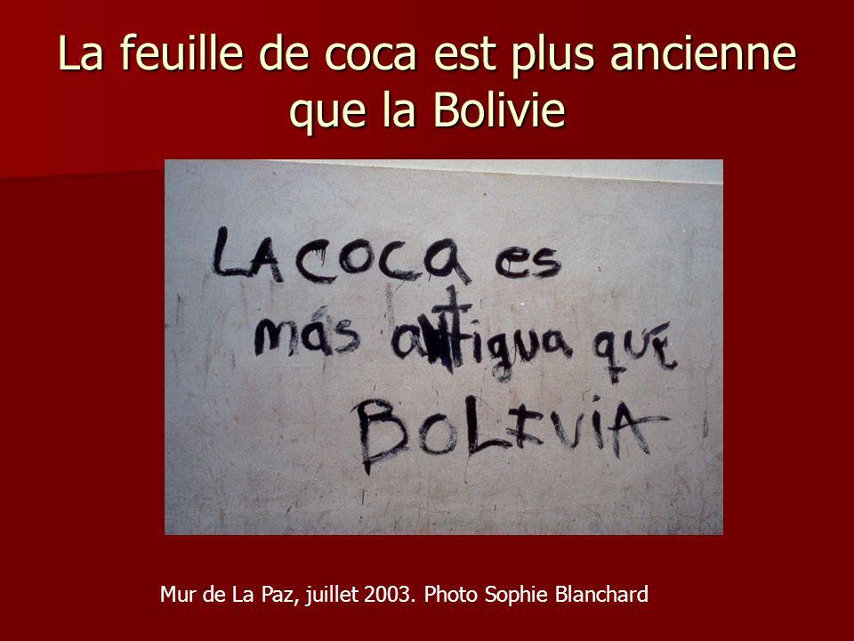 La feuille de coca est plus ancienne que la Bolivie Mur de La Paz, juillet 2003. Photo Sophie Blanchard