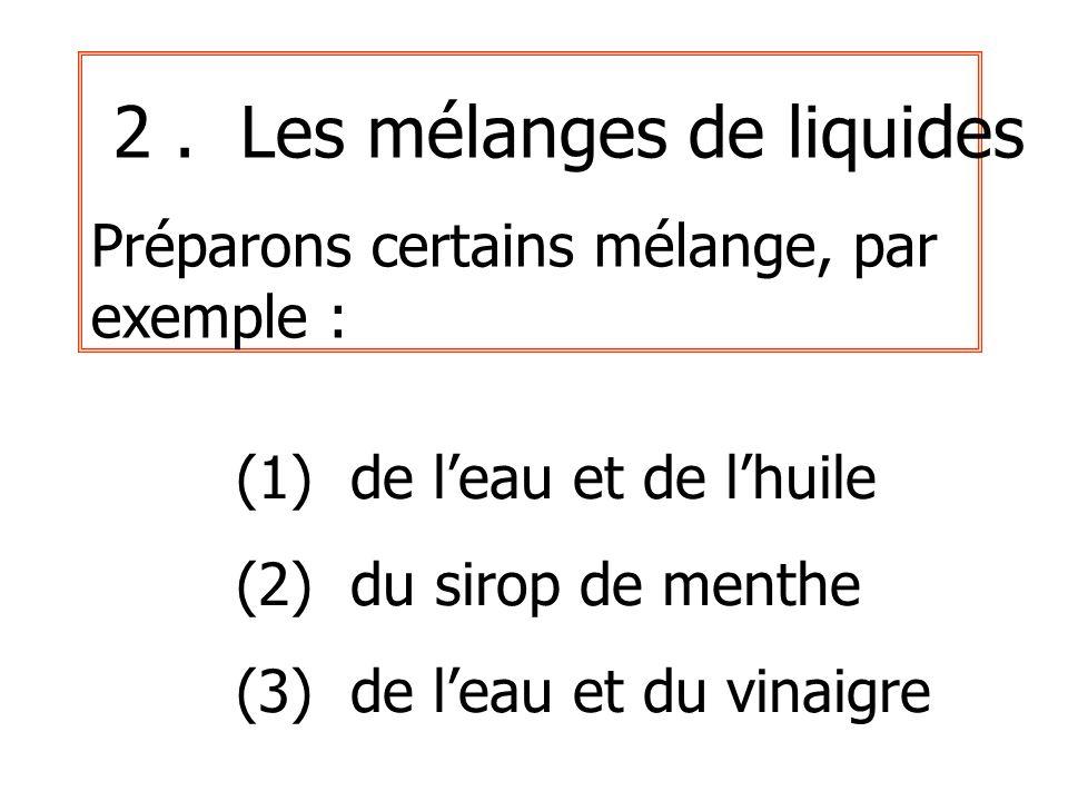 2. Les mélanges de liquides Préparons certains mélange, par exemple : (1) de leau et de lhuile (2) du sirop de menthe (3) de leau et du vinaigre