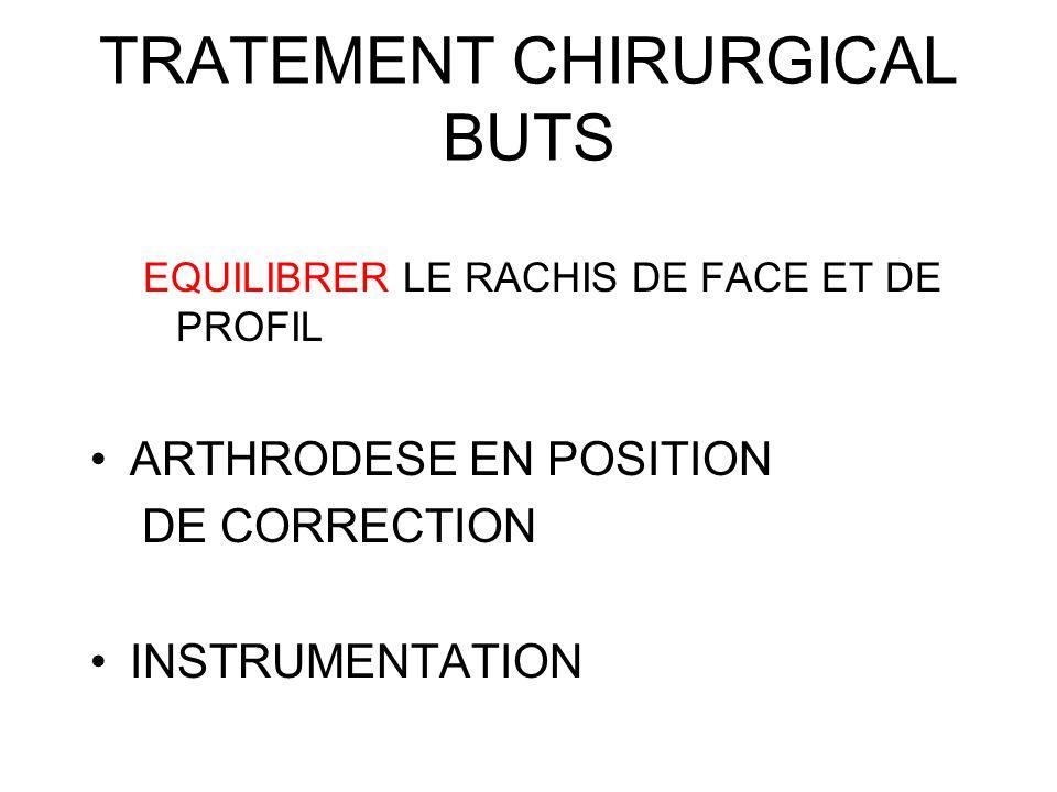 TRATEMENT CHIRURGICAL BUTS EQUILIBRER LE RACHIS DE FACE ET DE PROFIL ARTHRODESE EN POSITION DE CORRECTION INSTRUMENTATION