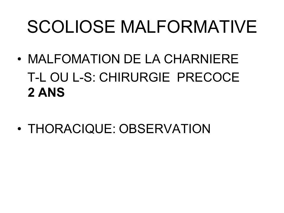 SCOLIOSE MALFORMATIVE MALFOMATION DE LA CHARNIERE T-L OU L-S: CHIRURGIE PRECOCE 2 ANS THORACIQUE: OBSERVATION