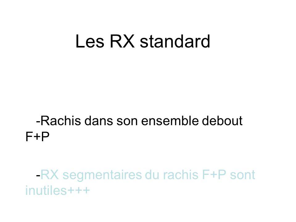 Les RX standard -Rachis dans son ensemble debout F+P -RX segmentaires du rachis F+P sont inutiles+++
