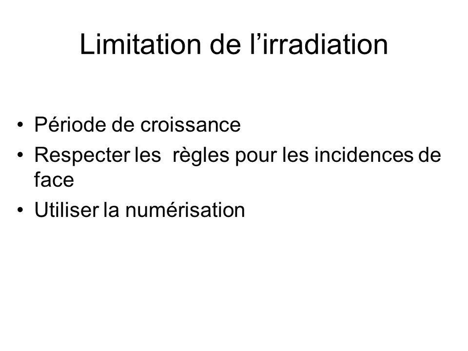 Limitation de lirradiation Période de croissance Respecter les règles pour les incidences de face Utiliser la numérisation