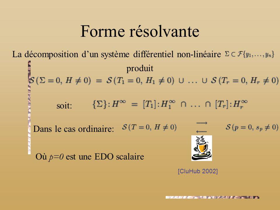 Forme résolvante La décomposition dun système différentiel non-linéaire produit soit: Dans le cas ordinaire: Où p=0 est une EDO scalaire [CluHub 2002]