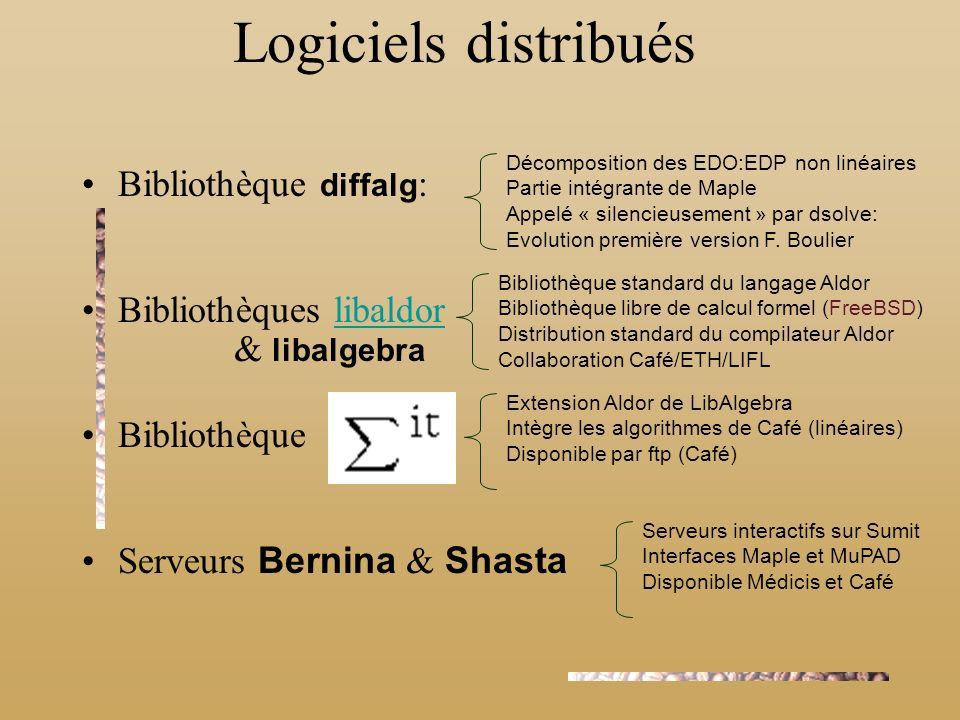 Bibliothèque diffalg : Bibliothèques libaldorlibaldor Bibliothèque Serveurs Bernina & Shasta Logiciels distribués Décomposition des EDO:EDP non linéai