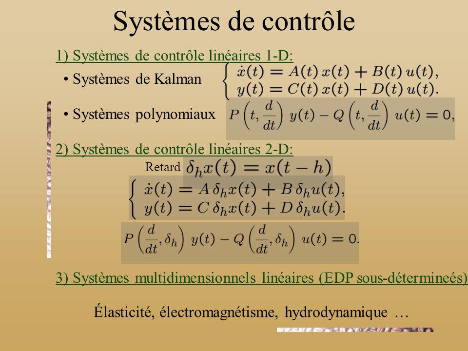 Systèmes de contrôle 1) Systèmes de contrôle linéaires 1-D: Systèmes de Kalman Systèmes polynomiaux 2) Systèmes de contrôle linéaires 2-D: 3) Systèmes