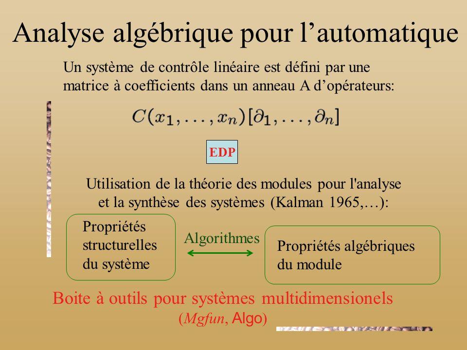 Analyse algébrique pour lautomatique Un système de contrôle linéaire est défini par une matrice à coefficients dans un anneau A dopérateurs: EDP Utilisation de la théorie des modules pour l analyse et la synthèse des systèmes (Kalman 1965,…): Propriétés structurelles du système Propriétés algébriques du module Boite à outils pour systèmes multidimensionels (Mgfun, Algo ) Algorithmes