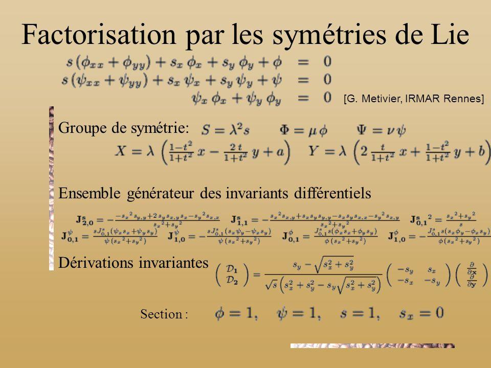 Factorisation par les symétries de Lie Groupe de symétrie: Ensemble générateur des invariants différentiels Dérivations invariantes [G. Metivier, IRMA